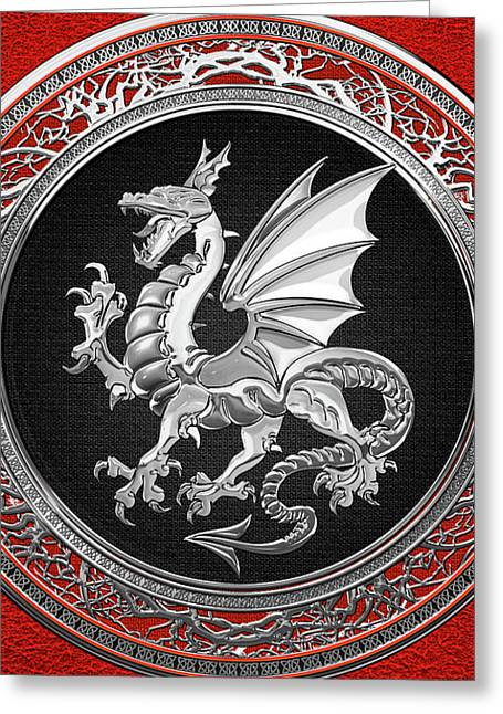 Silver Winged Norse Dragon - Icelandic Viking Landvaettir On Black And Silver Medallion Over Red  Greeting Card