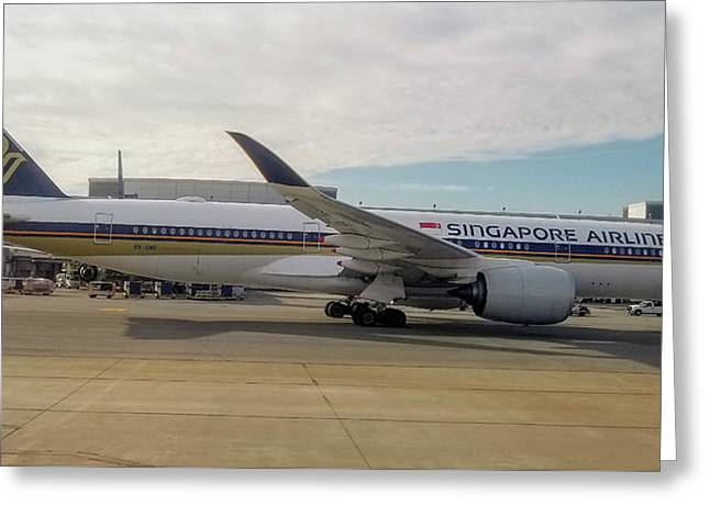 Singapore Airlines Airbus A350 At San Francisco International Airport Greeting Card