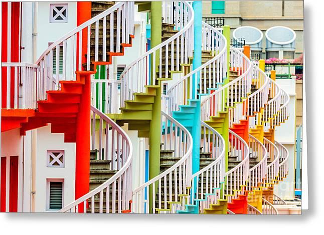 Singapore At Bugis Village Spiral Greeting Card by Sean Pavone