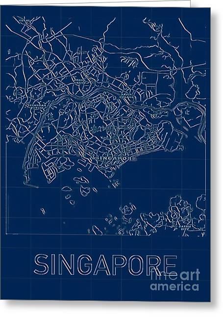 Singapore Blueprint City Map Greeting Card