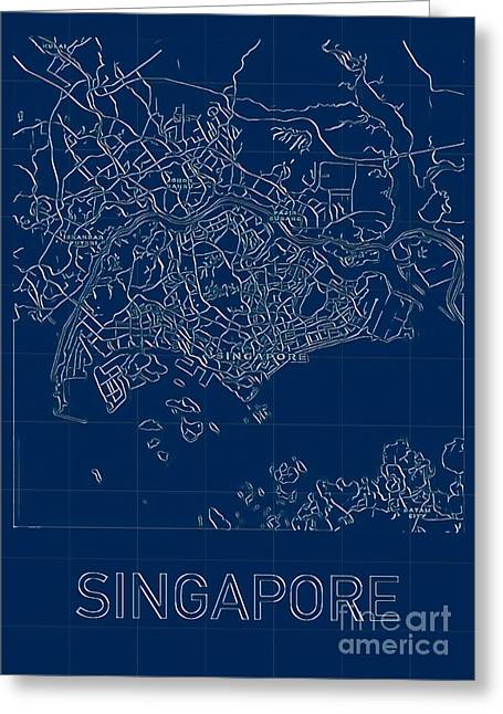 Singapore Blueprint City Map Greeting Card