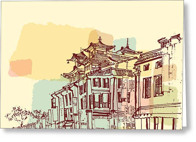 Singapore China Town Drawing. Vintage Greeting Card