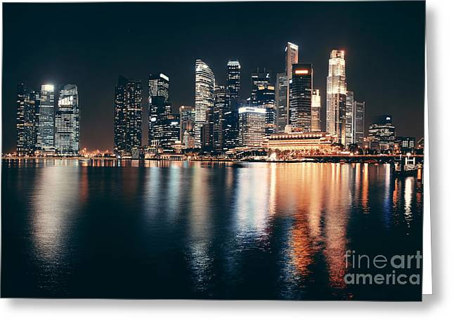 Singapore Skyline At Night With Urban Greeting Card by Songquan Deng