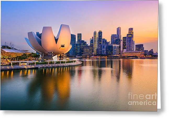 Singapore Skyline At The Marina During Greeting Card