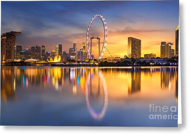 Singapore Skyline. Singapore`s Business Greeting Card