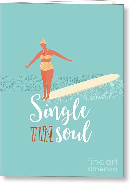 Single Fin Longboard Surfing Greeting Card