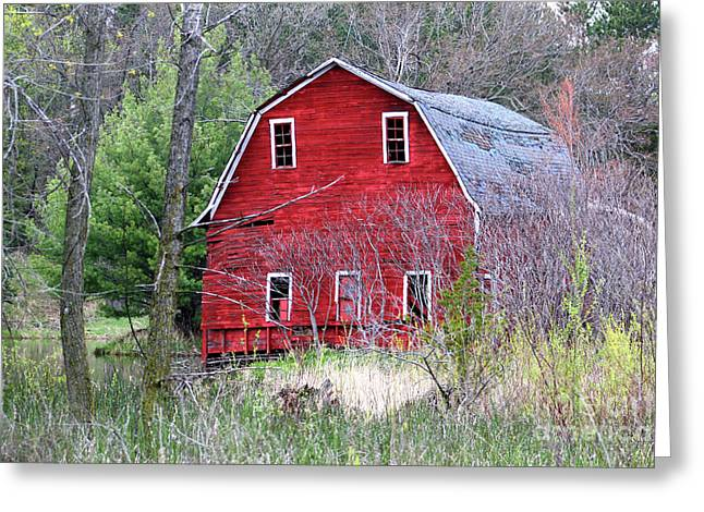Sinking Barn Greeting Card