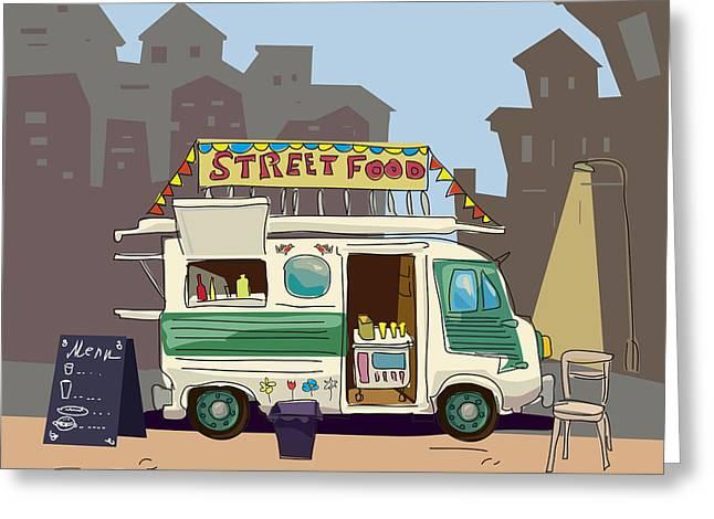 Sketch Car Street Food, City, Cartoon Greeting Card by Valeri Hadeev