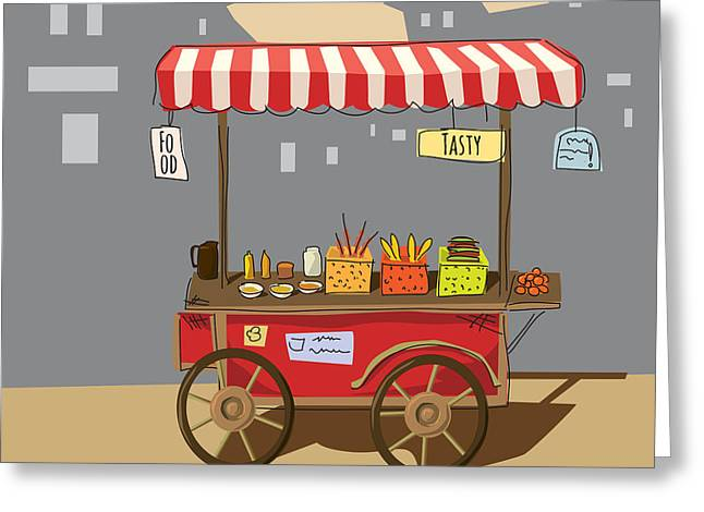 Sketch Of Street Food Carts, Cartoon Greeting Card by Valeri Hadeev