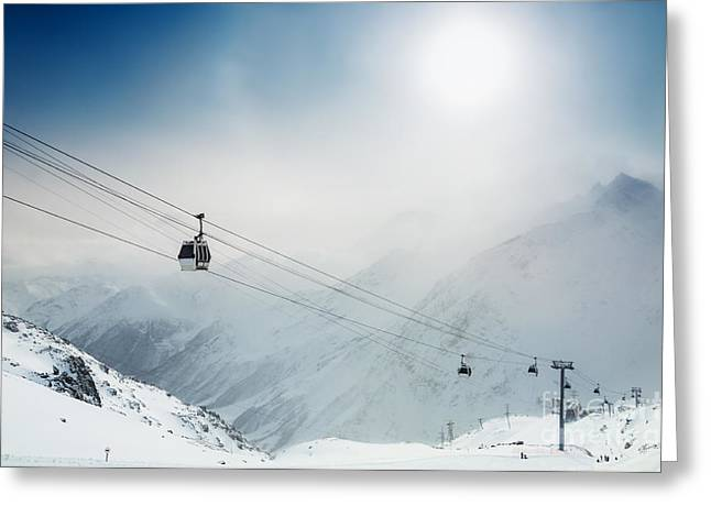Ski Resort In The Winter Mountains Greeting Card by Olga Gavrilova