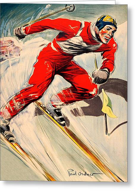 Skier On The Run Greeting Card