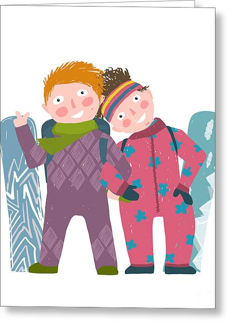 Skiing Sport Child Girl And Boy In Greeting Card