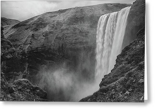 Skogafoss Iceland Black And White Greeting Card