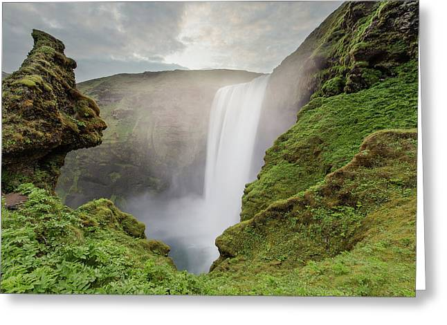 Greeting Card featuring the photograph Skogafoss Waterfall by Nicole Young