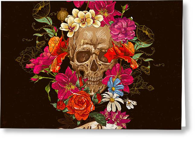 Skull And Flowers Day Of The Dead Greeting Card