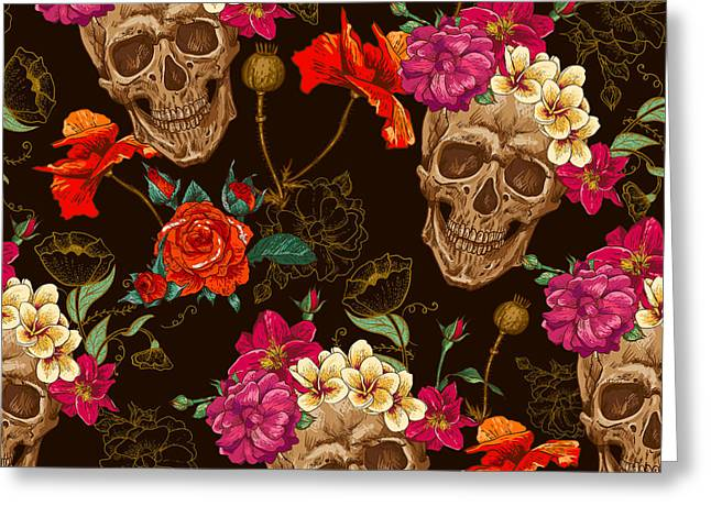 Skull And Flowers Seamless Background Greeting Card