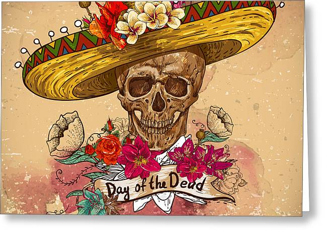 Skull In Sombrero With Flowers Day Of Greeting Card