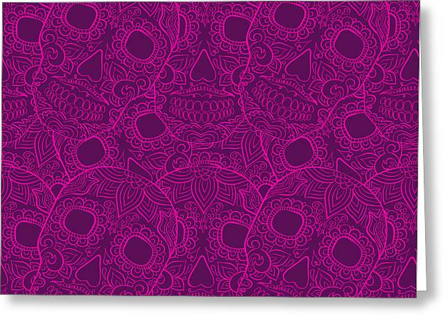 Skulls Seamless Pattern Greeting Card