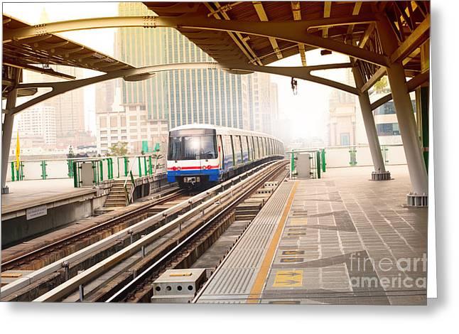 Sky Trains In Bangkok City Important Greeting Card