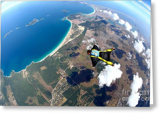 Skydive Wing Suit Over Brazilian Beach Greeting Card by Rick Neves