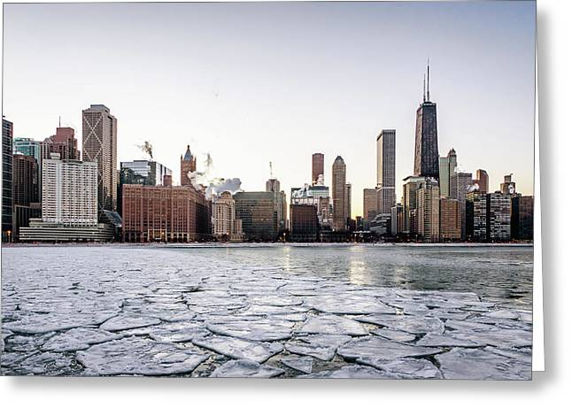 Skyline And Cracks In The Water Greeting Card