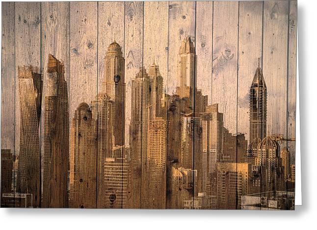 Skyline Of Dubai, Uae On Wood Greeting Card