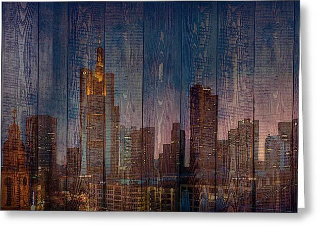 Skyline Of Frankfurt, Germany On Wood Greeting Card