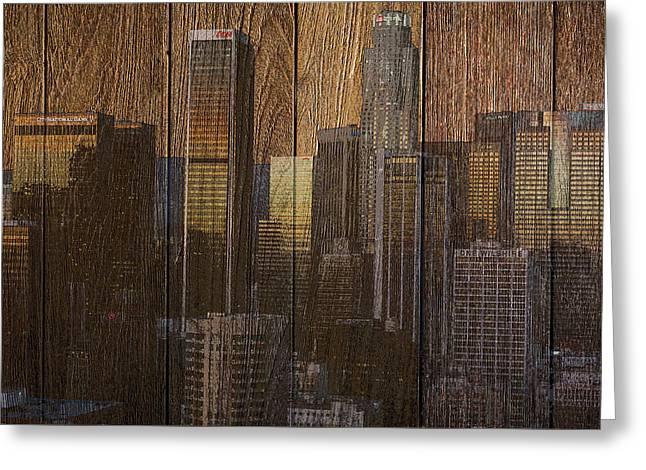 Skyline Of Los Angeles, Usa On Wood Greeting Card