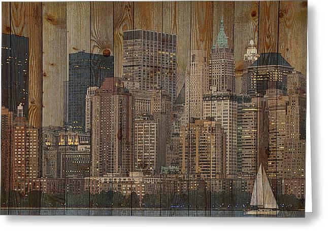 Skyline Of New York, Usa On Wood Greeting Card