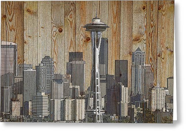 Skyline Of Seattle, Usa On Wood Greeting Card