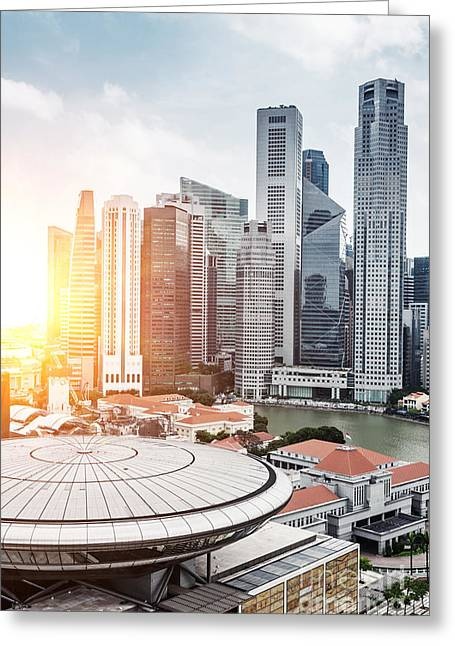 Skyline Of Singapore Business District Greeting Card