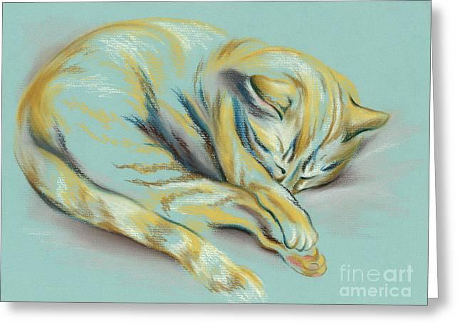 Sleeping Tabby Kitten Greeting Card