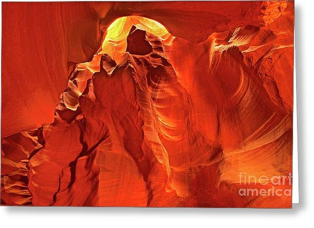 Slot Canyon Formations In Upper Antelope Canyon Arizona Greeting Card