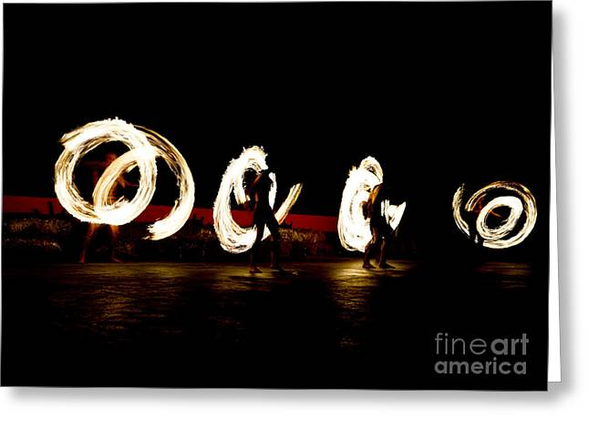 Slow Shutter Speed Of Fire Show Greeting Card by The Sun Photo