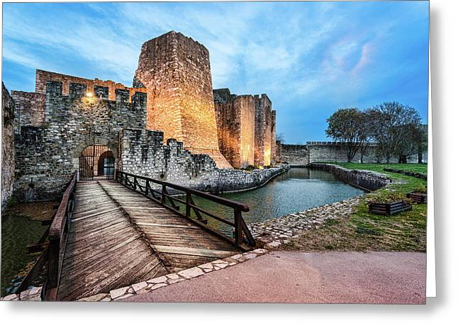 Greeting Card featuring the photograph Smederevo Fortress Gate And Bridge by Milan Ljubisavljevic