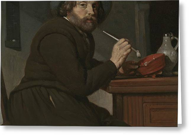 Smoker Seated At A Table Greeting Card