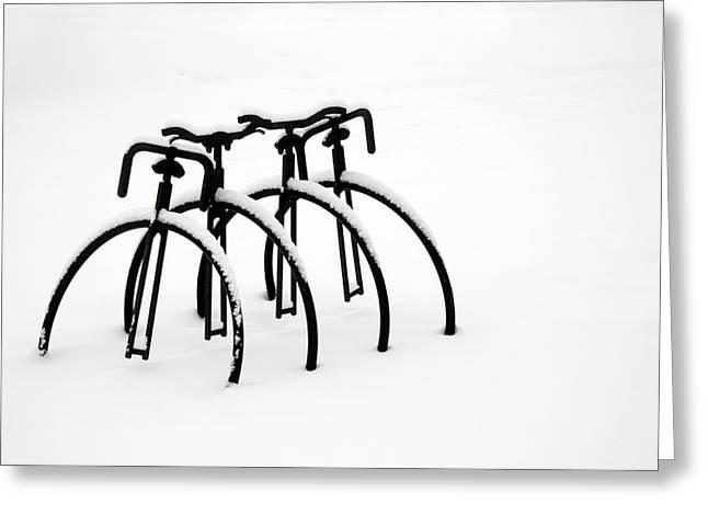 Snow Bikes Greeting Card by Dana Klein