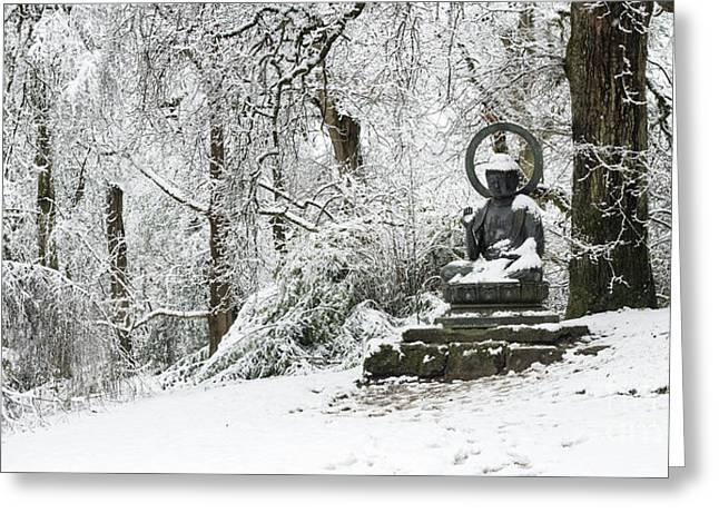 Snow Buddha Batsford Arboretum Greeting Card by Tim Gainey