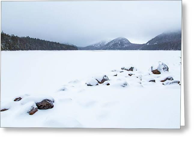 Snow Cover Jordan Pond Greeting Card