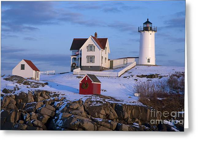 Snow Covered Lighthouse During Holiday Greeting Card