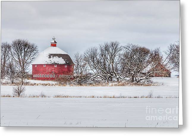 Snow Covered Round Barn Greeting Card