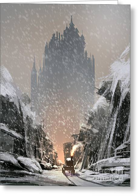 Snow-covered Ruined Buildings Leads Greeting Card