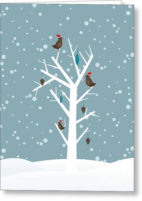 Snow Fall Background With Birds Sitting Greeting Card