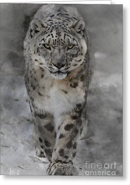 Greeting Card featuring the photograph Snow Leopard II by Brad Allen Fine Art