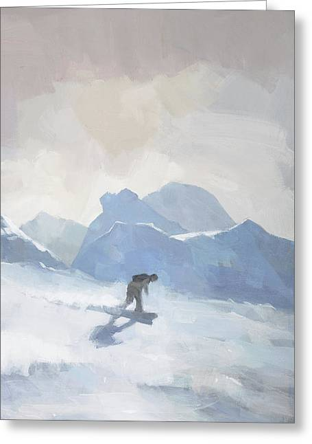 Greeting Card featuring the painting Snowboarding At Les Arcs by Steve Mitchell