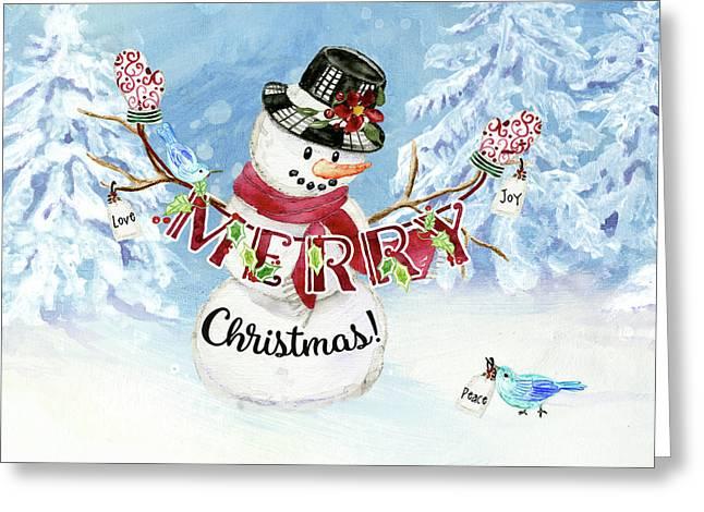 Snowman Christmas Love Joy Peace Greeting Card