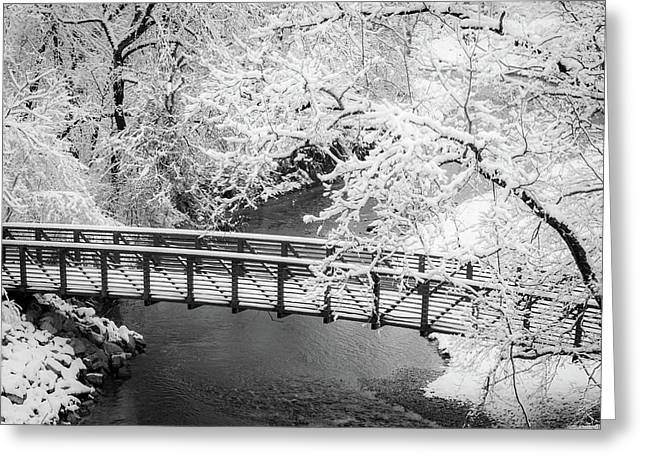 Greeting Card featuring the photograph Snowy Bridge On Mill Creek by Jeff Phillippi