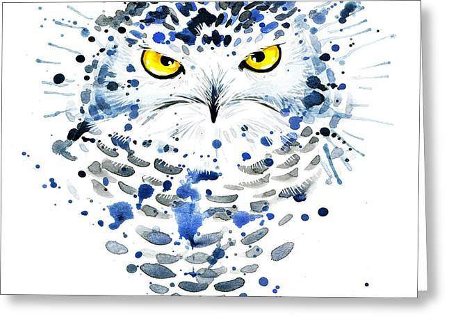 Snowy Owl. Watercolor Illustration Greeting Card