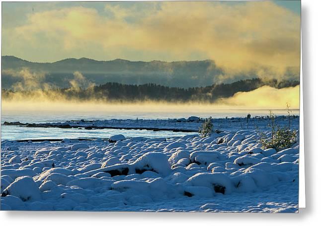 Snowy Shoreline Sunrise Greeting Card