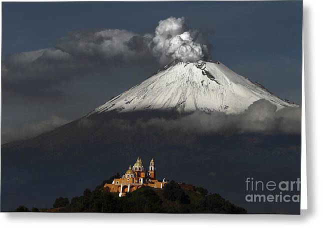 Snowy Volcano And Church Greeting Card